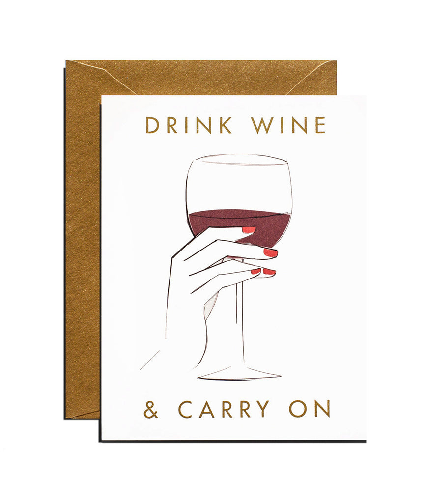 Drink Wine & Carry On Card