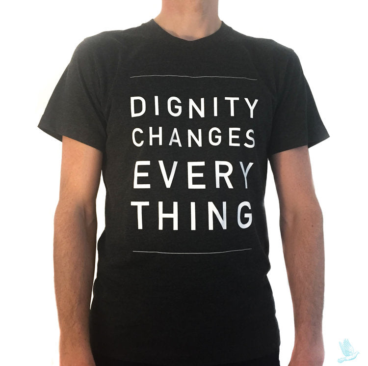 """Dignity Changes Everything"" Unisex T-Shirt in Heather Black Crew Neck"