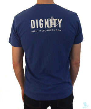 """Dignity Changes Everything"" Unisex T-Shirt in Heather Blue V-Neck"