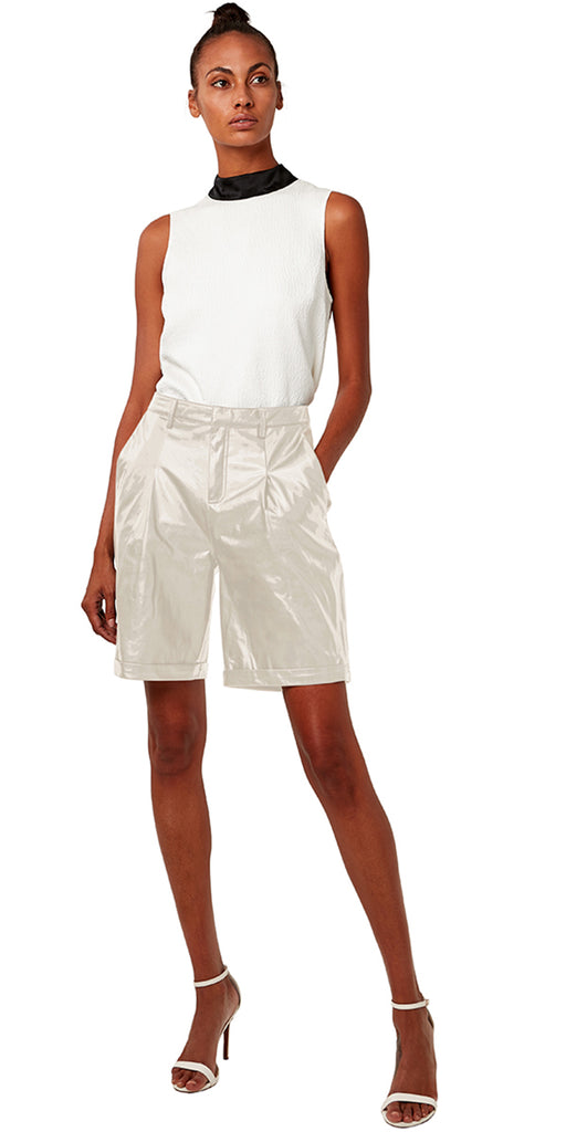 AS by DF Bianca Recycled Leather Bermuda Shorts