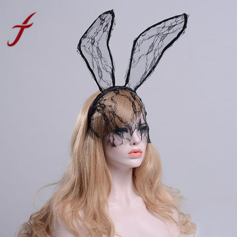 Feitong Novelty Hairbands Women Lady Feather Lace Cat Ears Hair Accessories