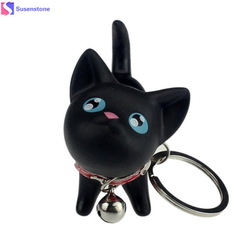 Cat Kitten Toy with Bell Keychain Keyring