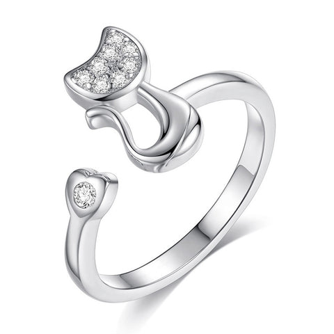 Delicate Lovely Cat Shape Clear Crystal Inlaid Ring