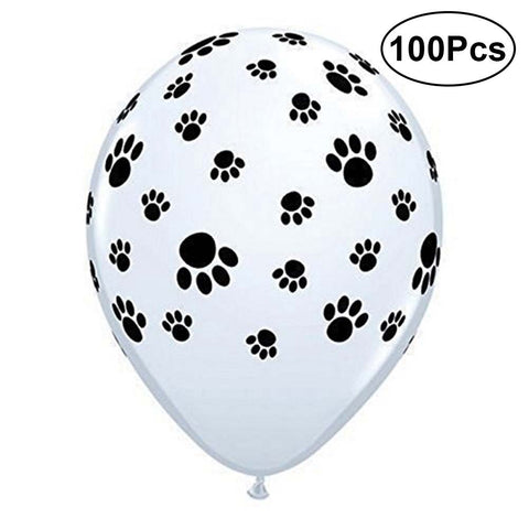 (100Pcs) 12 Inch Dog Paw Prints Balloons for Parties