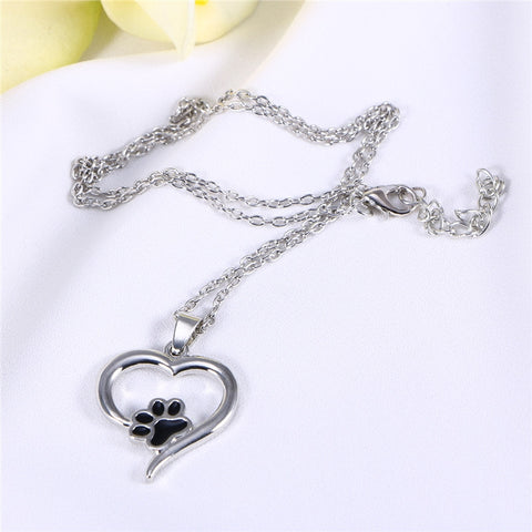 Pet Paw in Heart-shaped Pendant Necklace