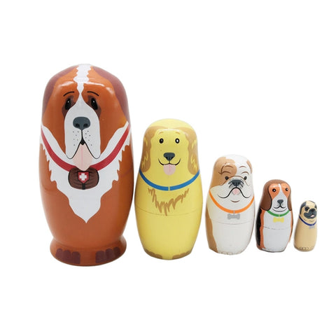 (5 Pcs) Cute Nesting Dolls Adorable Dog Russian Stacking Dolls Collection Toy