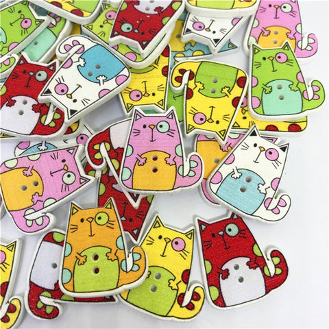 (50 Pcs) Wooden Buttons Colorful Environmental Cat Pattern Printed DIY Snaps (Assorted Color)