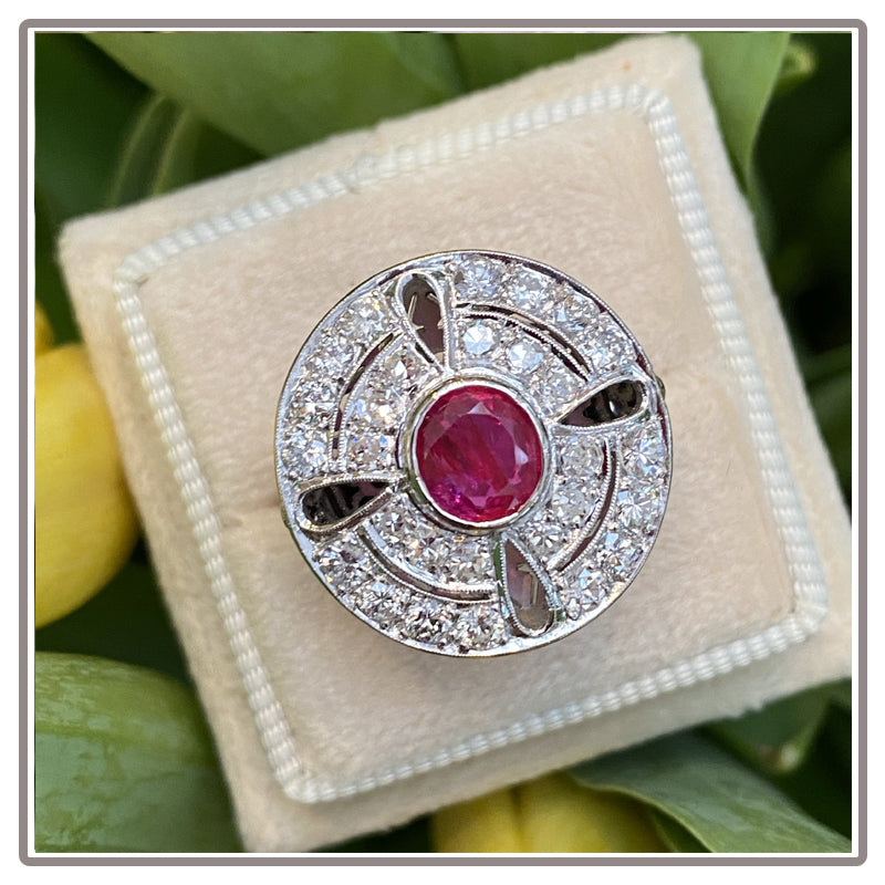 Sustainable Antique Art Deco Ruby and Diamond Halo Ring