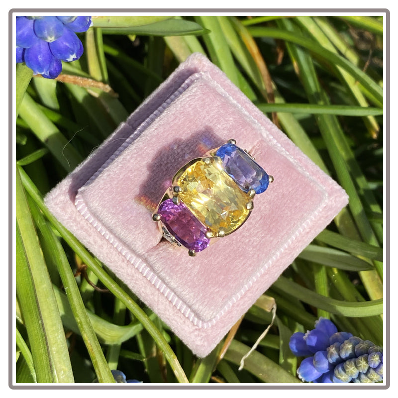 Pink, Yellow and Blue No Heat Sapphire Three Stone Colourful Engagement Ring