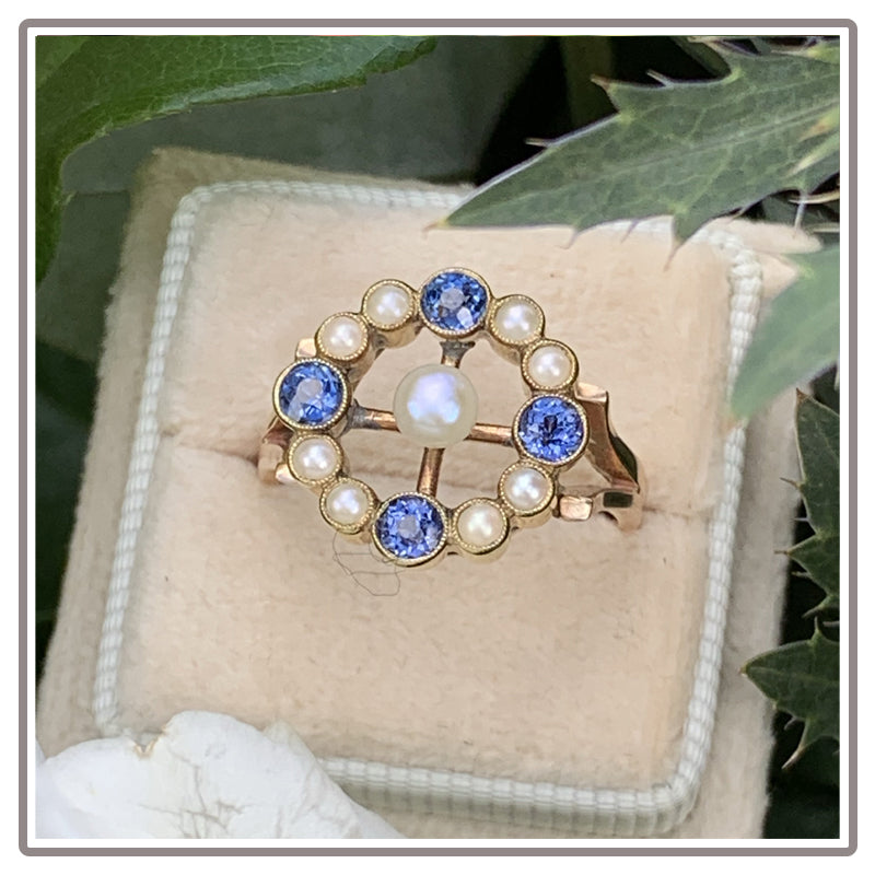 Antique Blue Sapphire and Pearl Engagement Ring