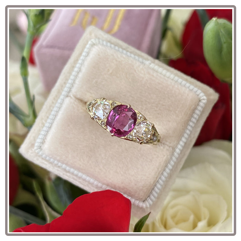 Antique Ruby and Diamond Engagement Ring in Yellow Gold