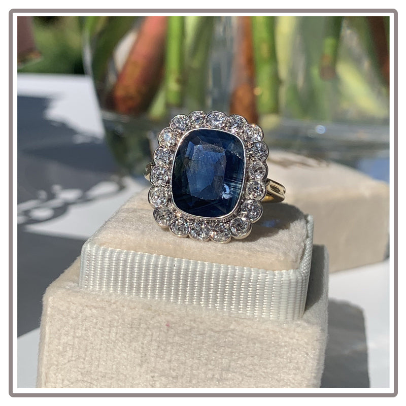 Antique Edwardian Blue Sapphire and Diamond Engagement Ring