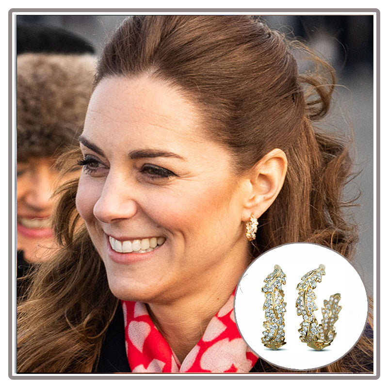 Duchess of Cambridge Favourite Oak Leaf Asprey Diamond Hoop Earrings