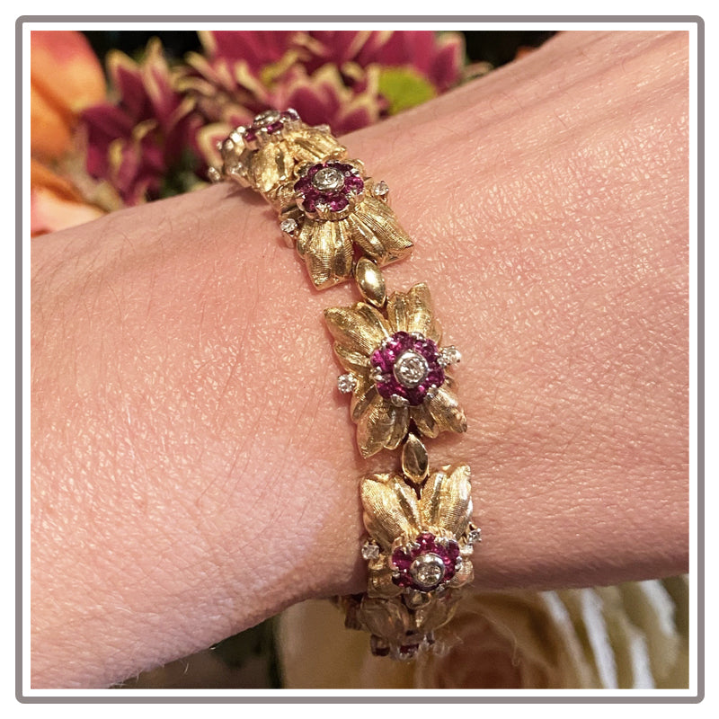 Vintage Ruby and Diamond Bracelet in Yellow Gold