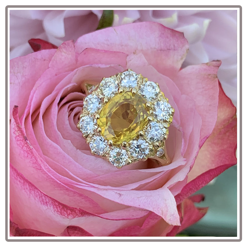 Yellow Sapphire and Diamond Halo Cluster Engagement Ring Katherine James Jewellery