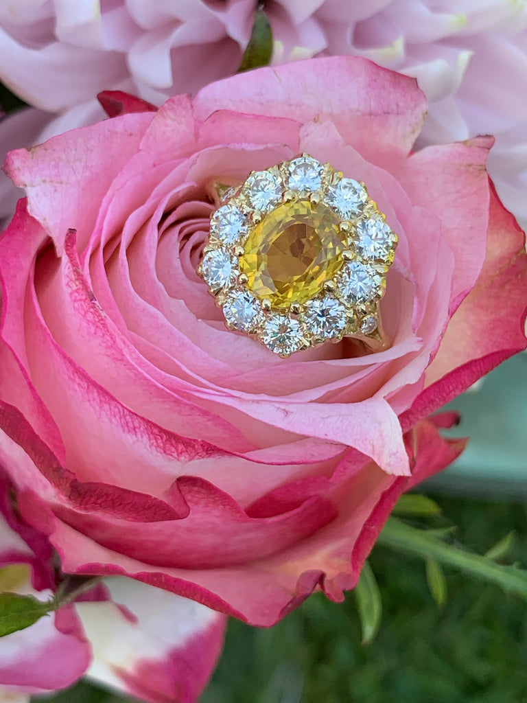 3.50 Carat Yellow Sapphire and 1.65 Carat Diamond Cluster Ring
