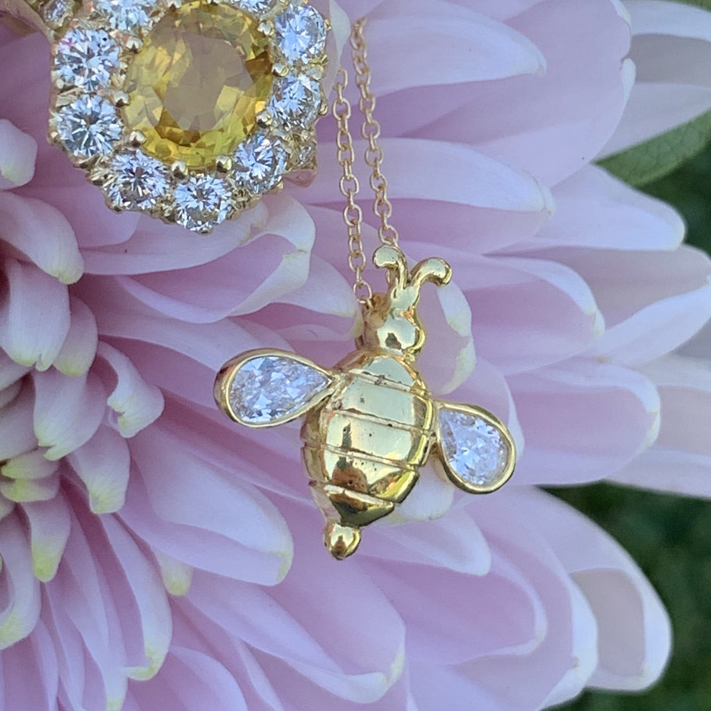 Beeautiful 18ct Yellow Gold and Diamond Bee Necklace