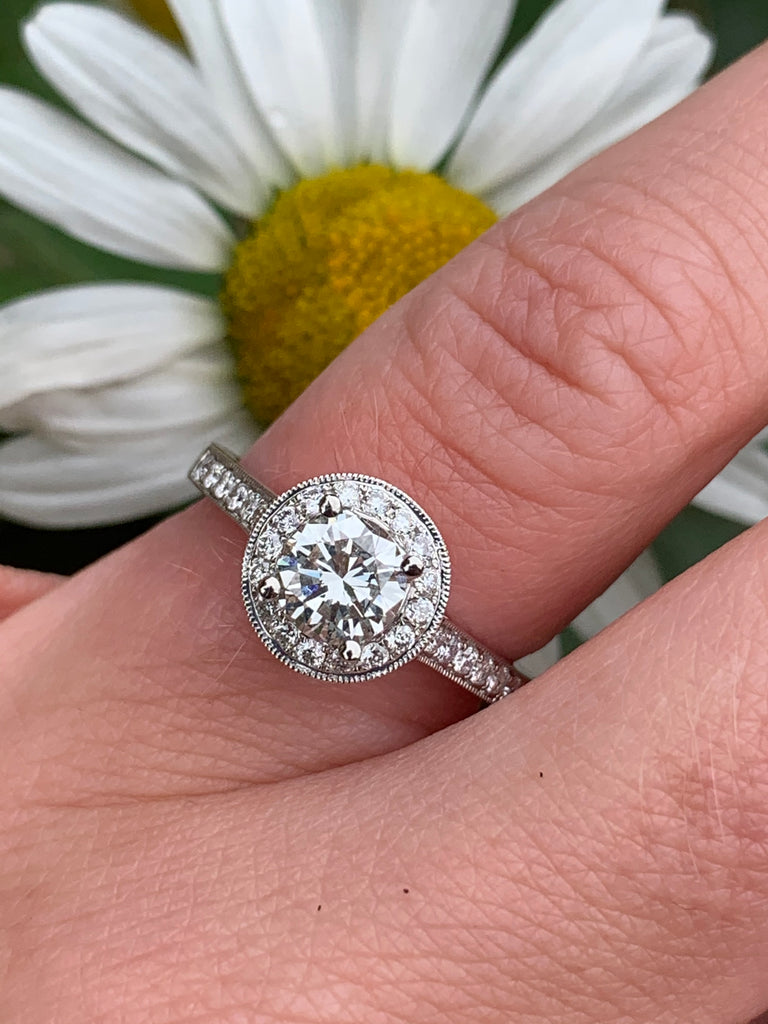 Glorious 1.57ct Halo Engagement Ring