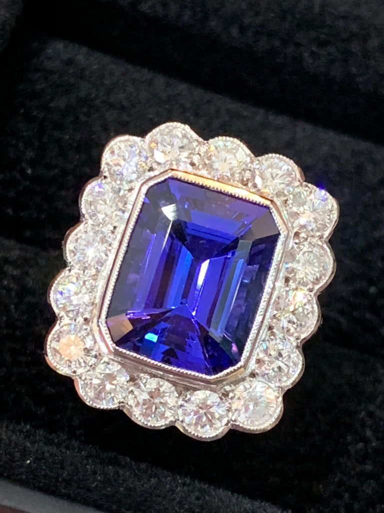 4.86 Carat Tanzanite and Diamond Cluster Ring in Platinum