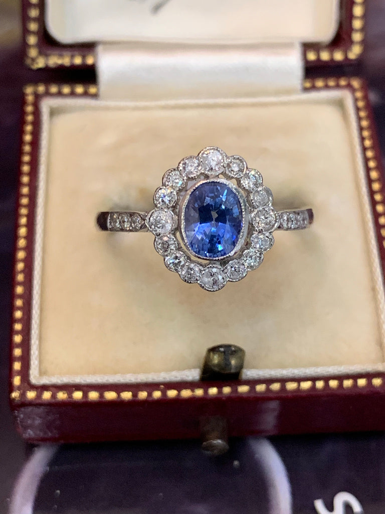1.15 Carat Ceylon Blue Sapphire and Diamond Halo Ring in Platinum