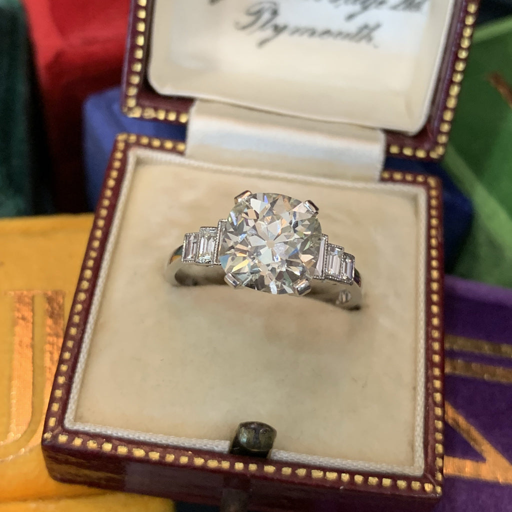 3.01 Carat Old Cut Diamond Art Deco Engagement Ring in Platinum