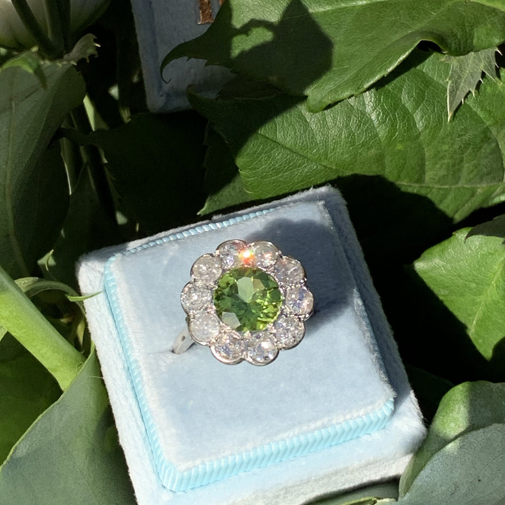 2.40 Carat Peridot and Diamond Halo Ring