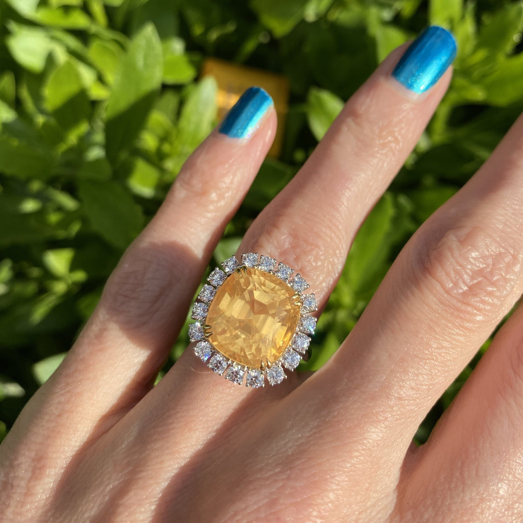 13.97 Certified Unheated Orange Sapphire and Diamond Ring