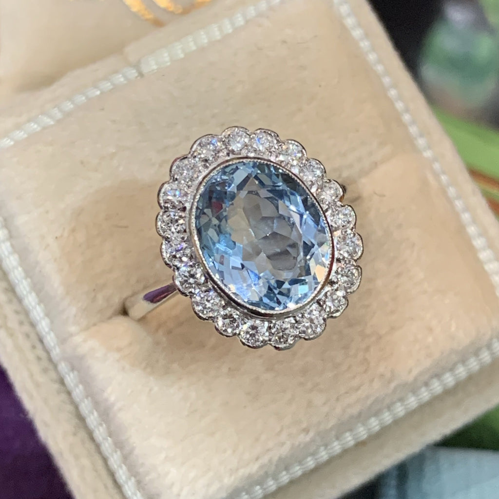 2.65 Carat Aquamarine and Diamond Ring in Platinum