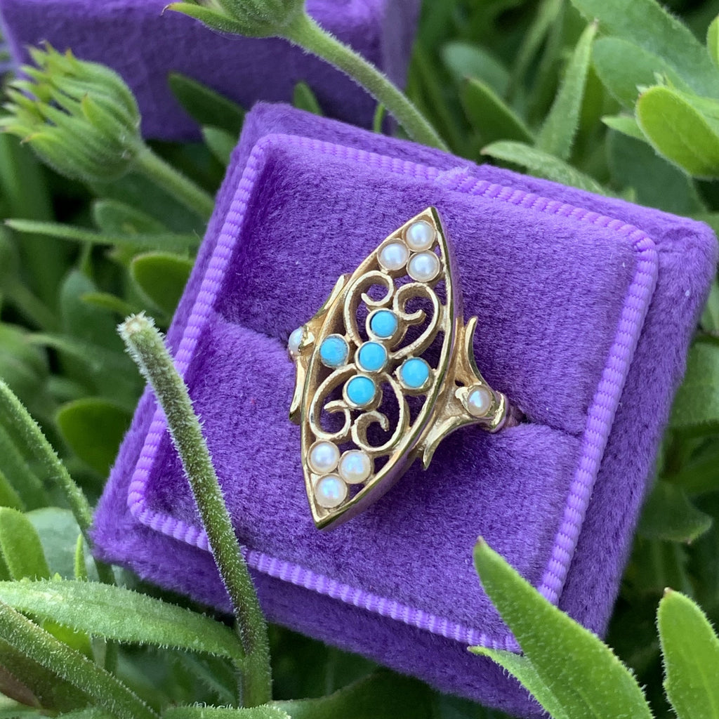 Turquoise and Seed Pearl Ring in Gold