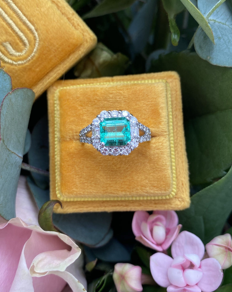 1.16 Carat GIA Colombian Emerald and Diamond Halo Engagement Ring
