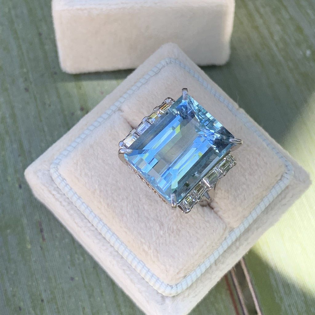 12 Carat Aquamarine and Diamond Cocktail Ring