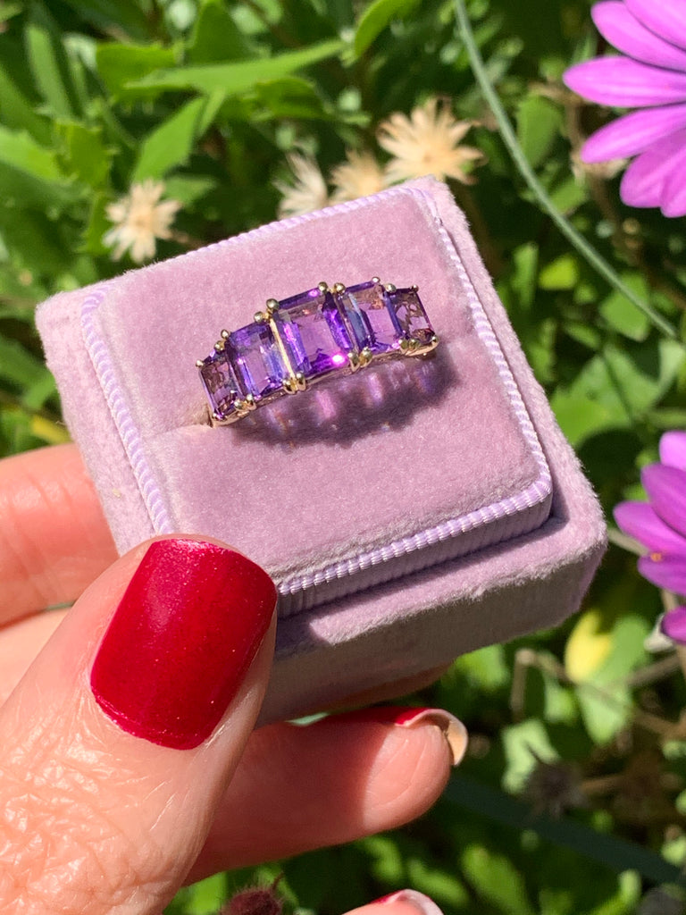 Lovely Amethyst and Diamond Five Stone Ring