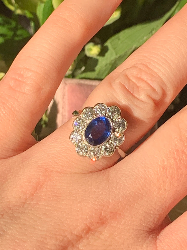 1.50 Carat Oval Blue Ceylon Sapphire and Diamond Halo Engagement Ring