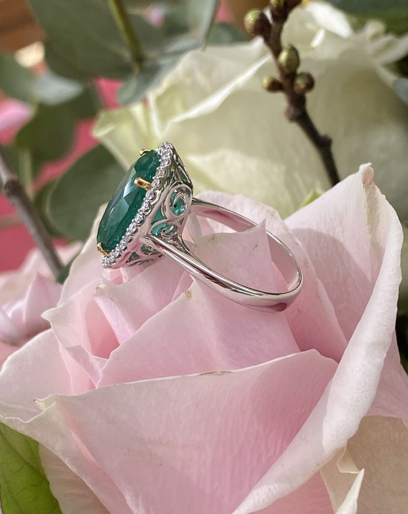 7.92 Carat Oval Cut Emerald and Diamond Halo Engagement Cocktail Ring