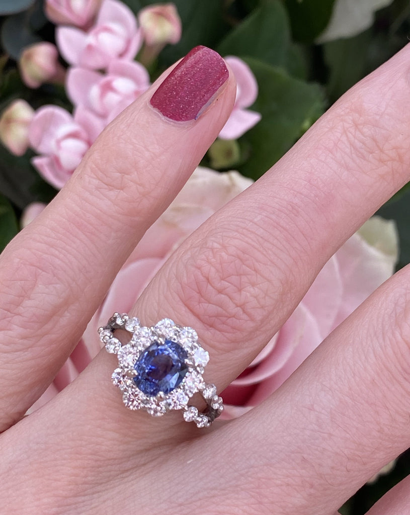 1.88 Carat No Heat Blue Sapphire and Diamond Halo Engagement Ring