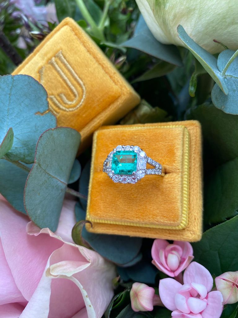 Katherine James Jewellery Emerald and Diamond Engagement Ring