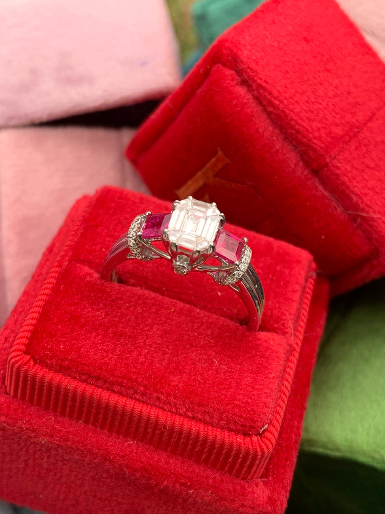 Beautiful Diamond and Ruby Engagement Ring in 18K White Gold