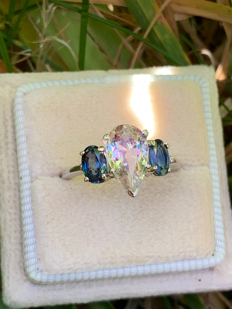 Wonderful Art Deco Sapphire and Rock Crystal Engagement Ring