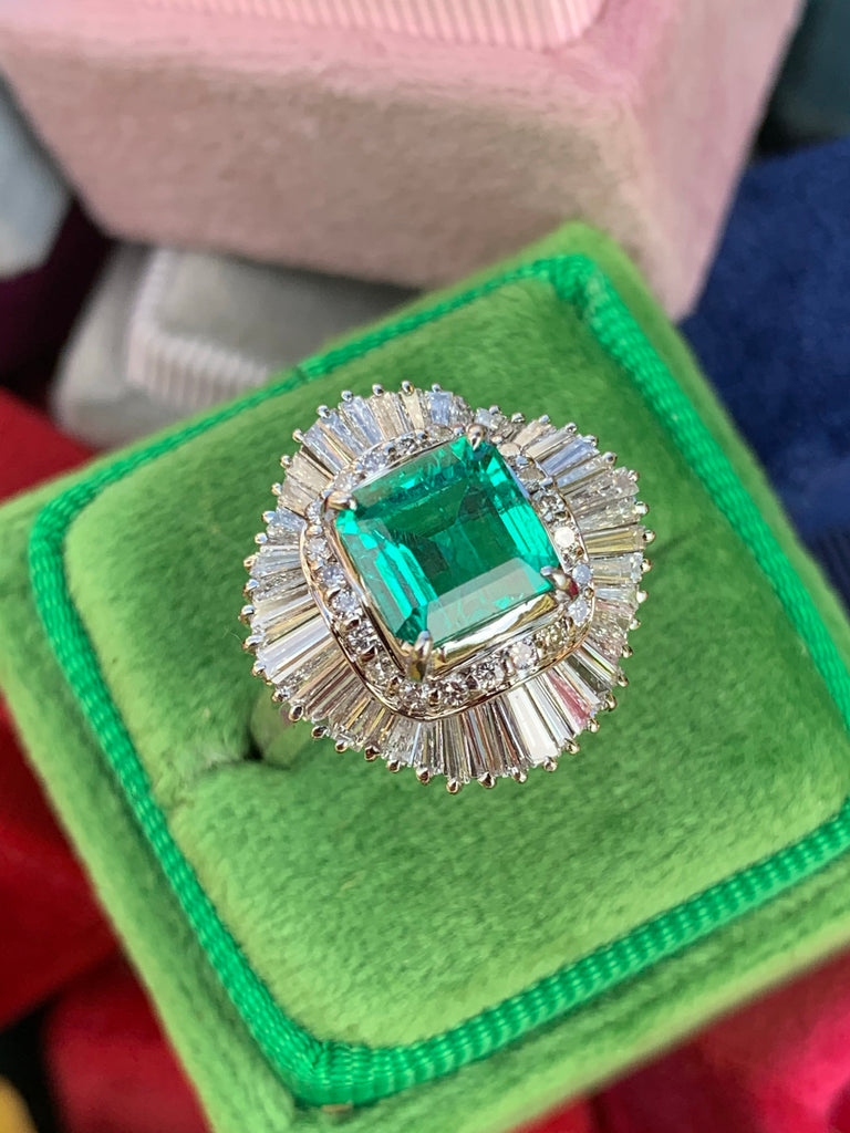 1.63 Carat Colombian Emerald and Diamond Ballerina Ring in Platinum
