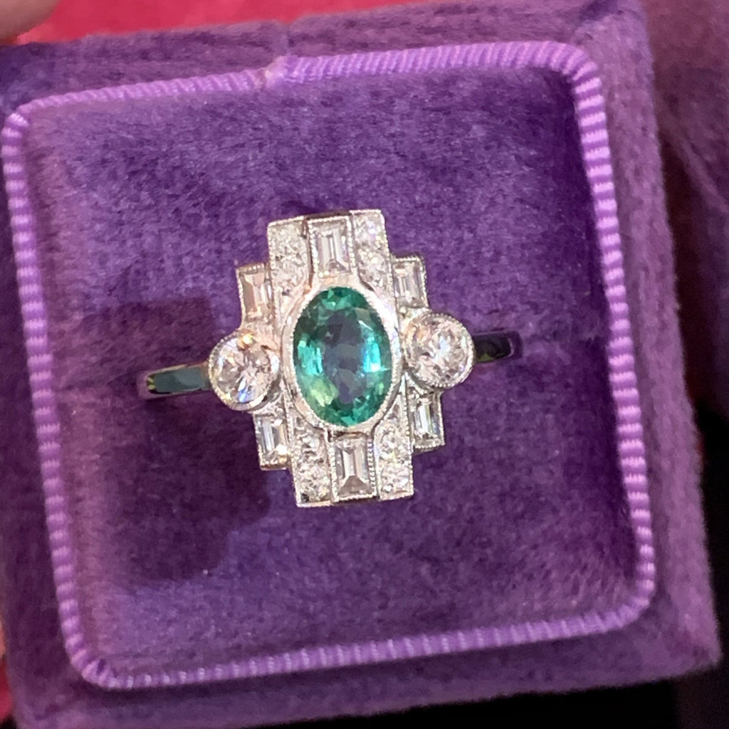 0.70 Carat Emerald and Diamond Art Deco Ring in Platinum