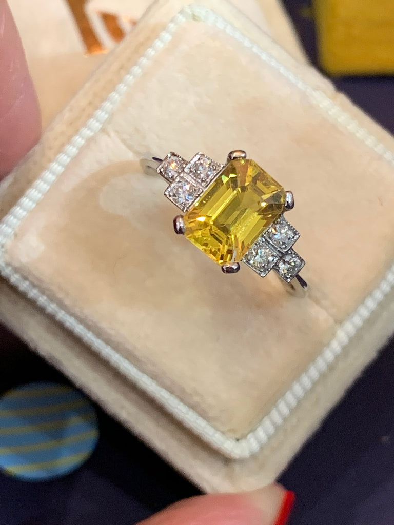 2.40 Carat Yellow Sapphire and Diamond Art Deco Ring in Platinum