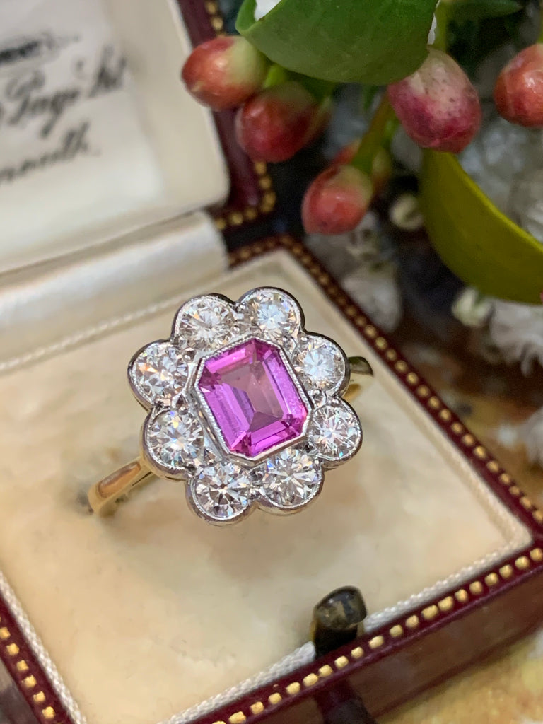 1.00 Carat Pink Sapphire and Diamond Halo Ring in 18K Gold