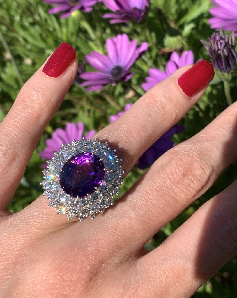 7.30 Carat Oval Cut Amethyst and Diamond Halo Ring in 18ct White Gold