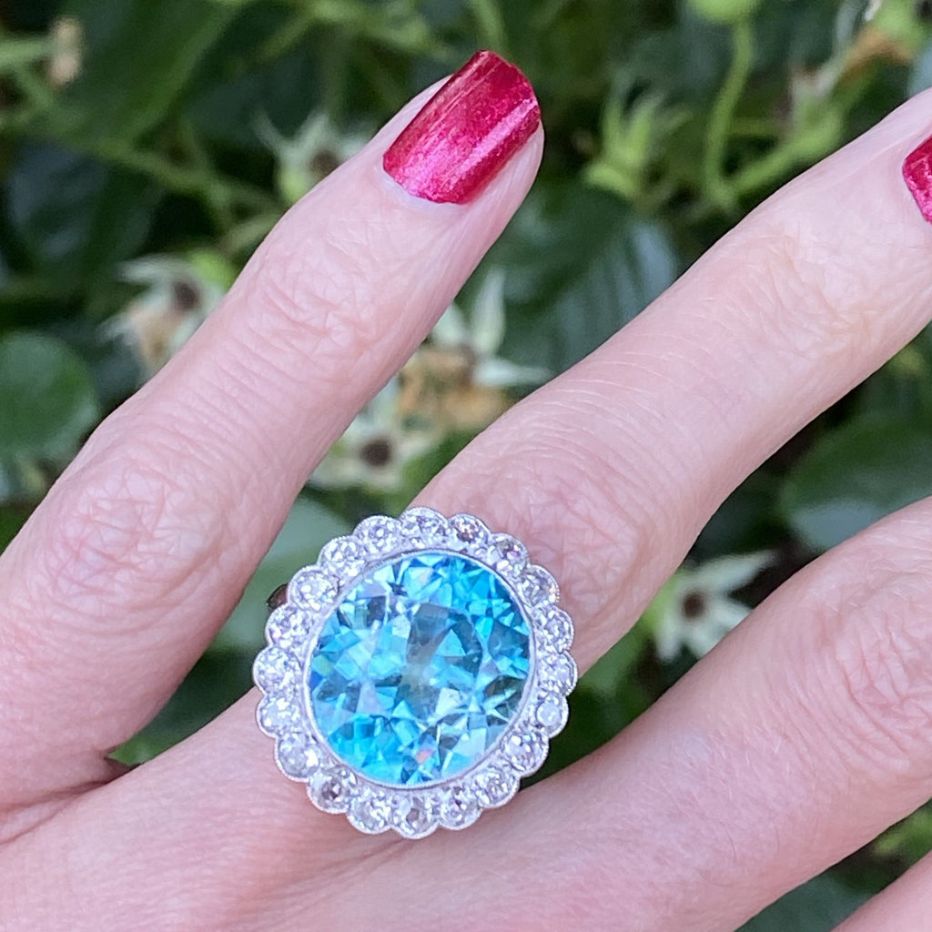 Katherine James Jewellery Blue Zircon and Diamond Ring