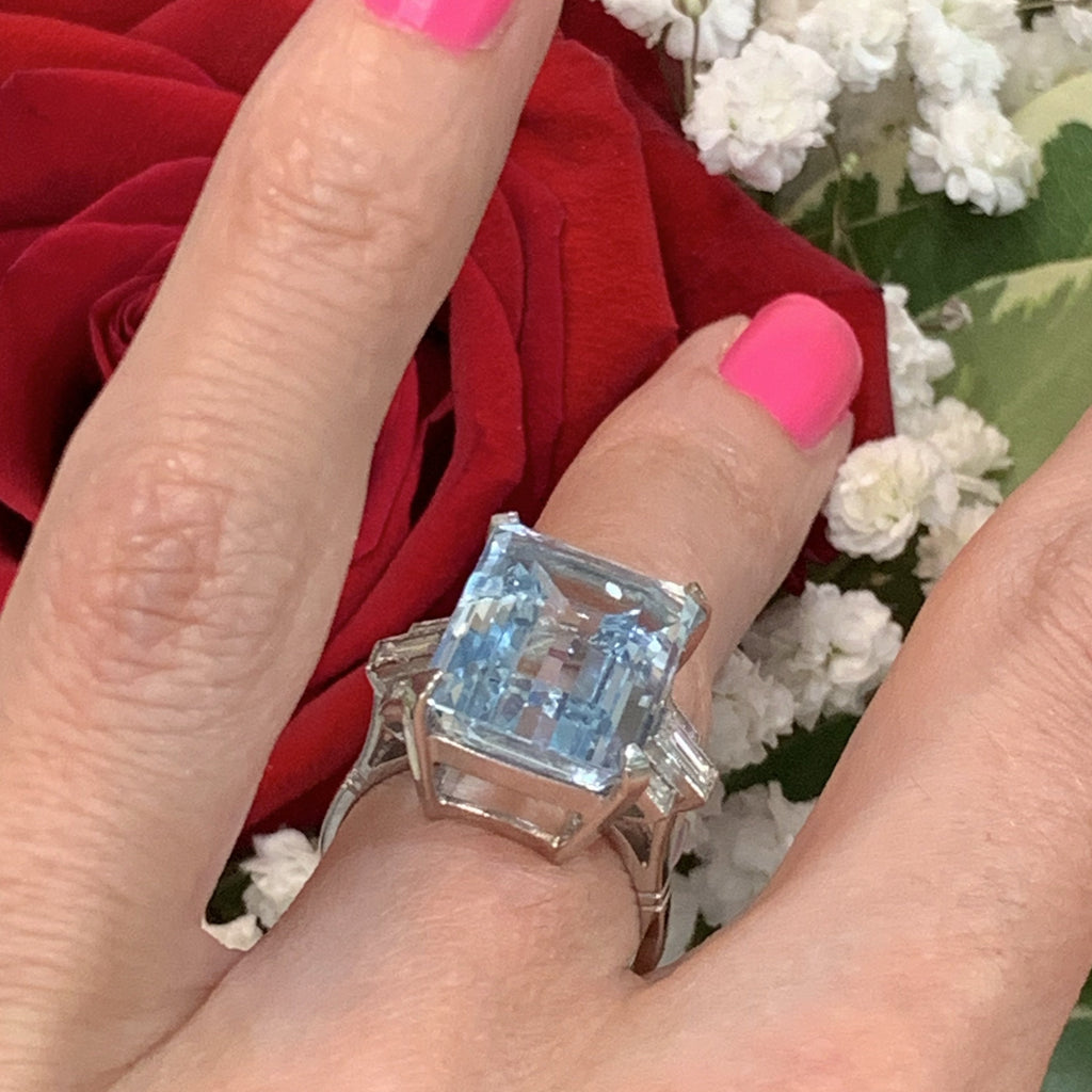 12.5 Carat Aquamarine and Diamond Ring in Platinum