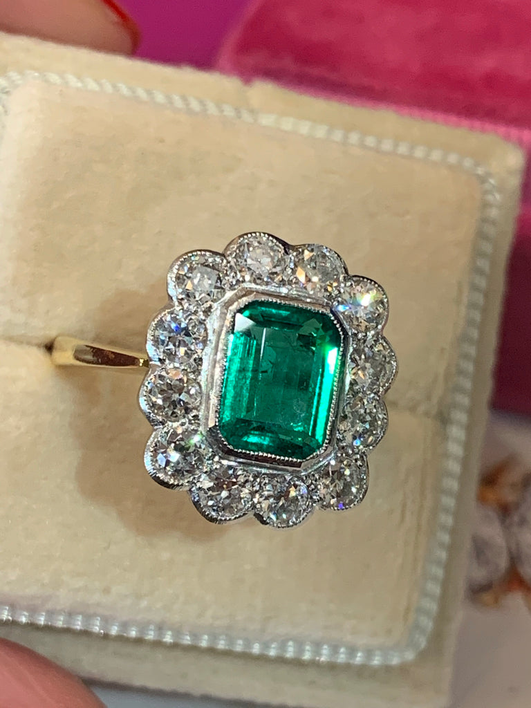 1.65 Carat Emerald and Old Euro Cut Diamond Halo Ring in 18K Gold