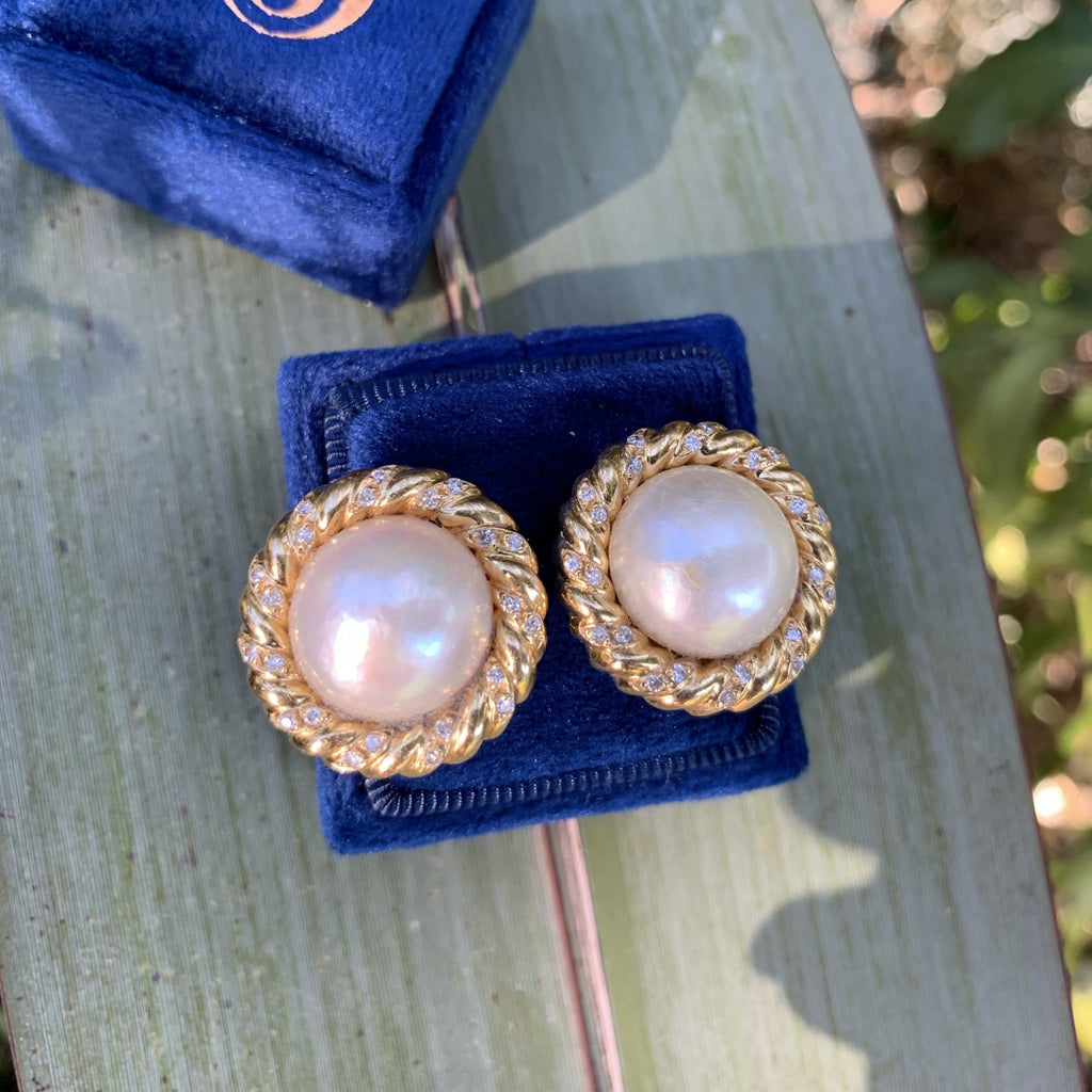Pearl and Diamond Earrings in 18ct Yellow Gold