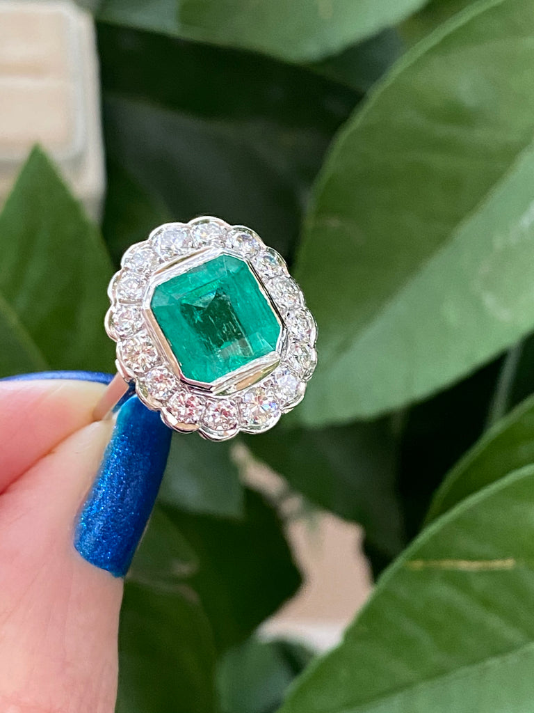 4.29 Carat Asscher Cut Colombian Emerald and Diamond Halo Engagement Ring in Platinum