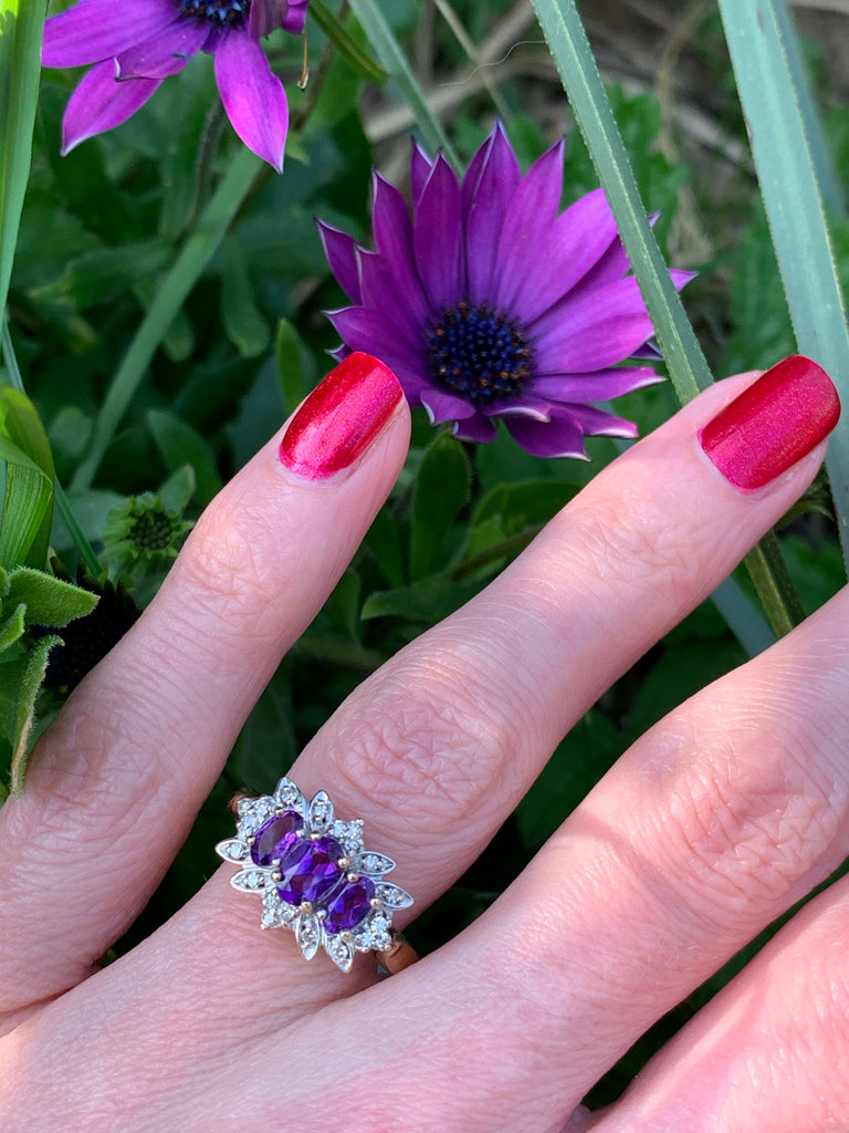 Beautiful Amethyst and Diamond Ring