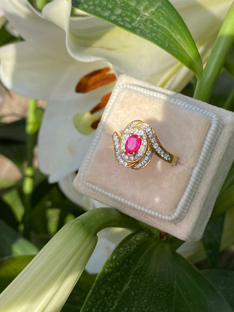 0.50 Carat Ruby and Diamond Ring in 18ct Yellow Gold